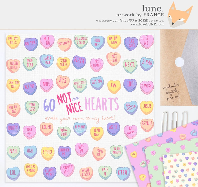 Mean Valentine/'s Day Candy Heart Clipart Romance. Pattern Pastel Conversational Hearts Tumblr 3 FOR 2 Valentines Clipart Attitude