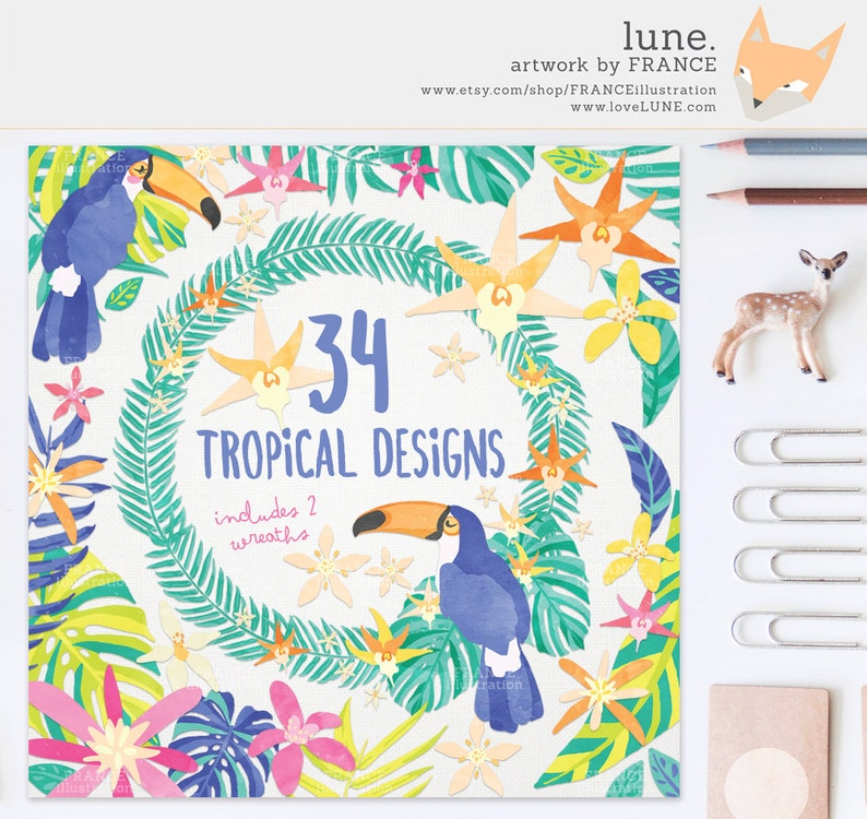 3 FOR 2. Watercolor Tropical Clipart  Jungle Leaves  Planner image 0