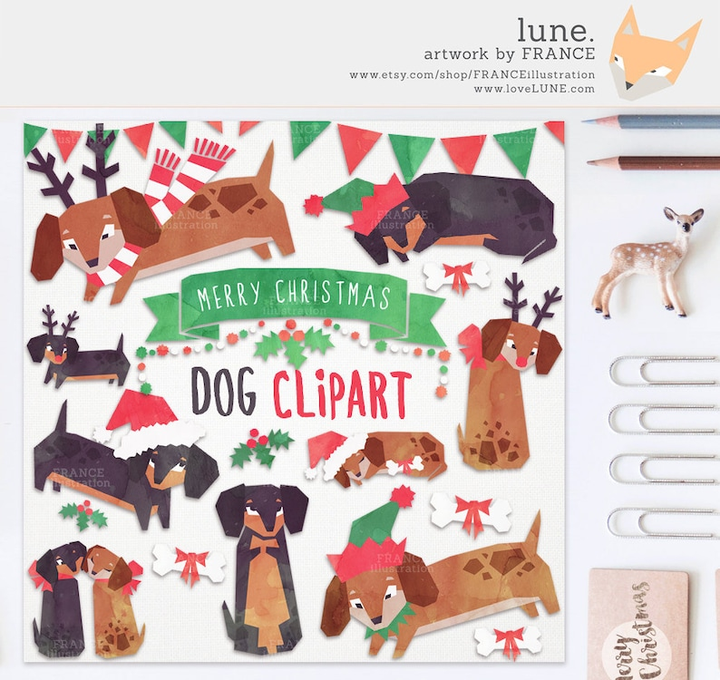Digital Paper Packs and High Resolution Tiles WatercolorXmas. 10 Christmas Themed Clipart Christmas Friends BIG BUNDLE