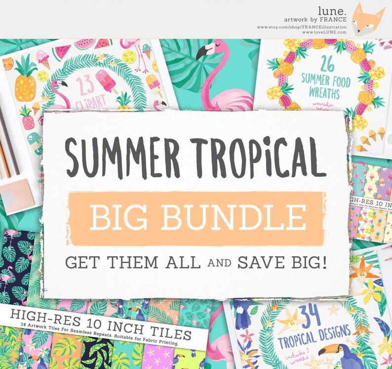 Summer Tropical Clipart BIG BUNDLE Beach Digital Papers  image 0