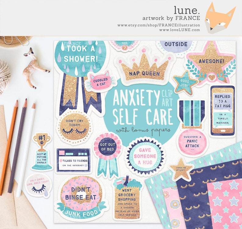 3 FOR 2. Anxiety / Depression Self Care Award Digital Clipart image 0