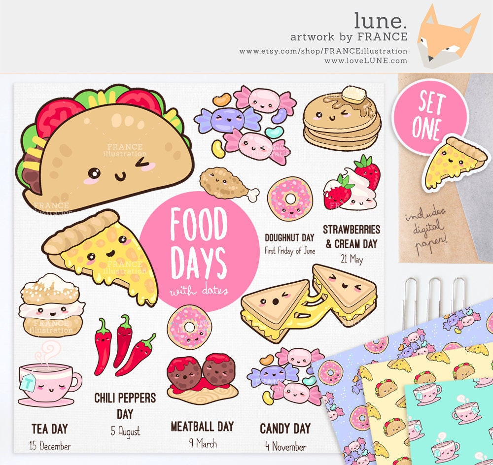 3 FOR 2. Cute Food Clipart / Kawaii Aesthetic / Taco Pizza   Etsy