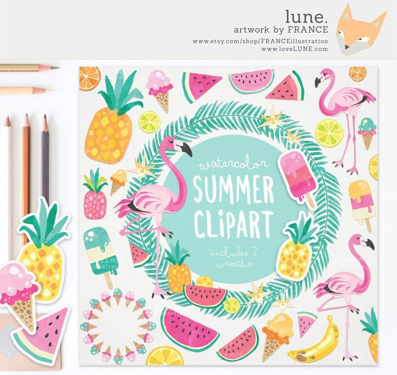 3 FOR 2. Watercolor Summer Clipart Tropical Clipart Beach image 0