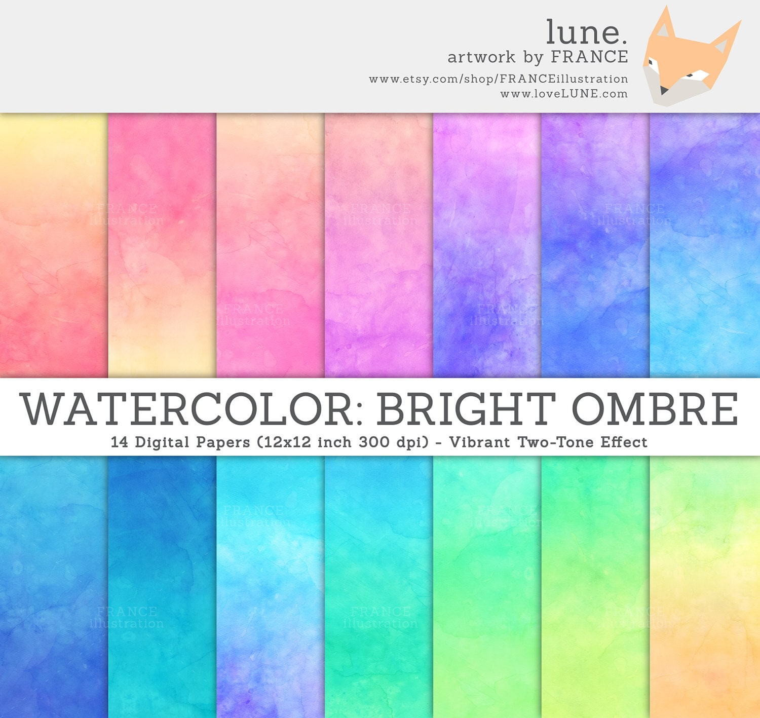 3 FOR 2. Watercolor Digital Paper. Bright Ombre Watercolor