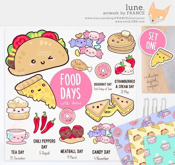 3 FOR 2. Cute Food Clipart / Kawaii Aesthetic / Taco Pizza ...
