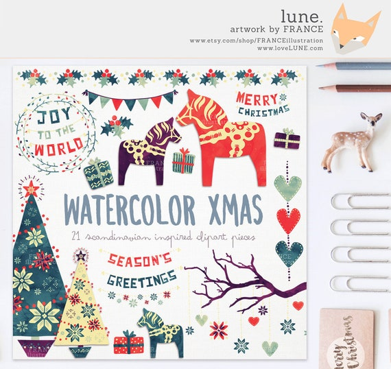 3 FOR 2 Clipart Watercolor Christmas Traditional Nordic