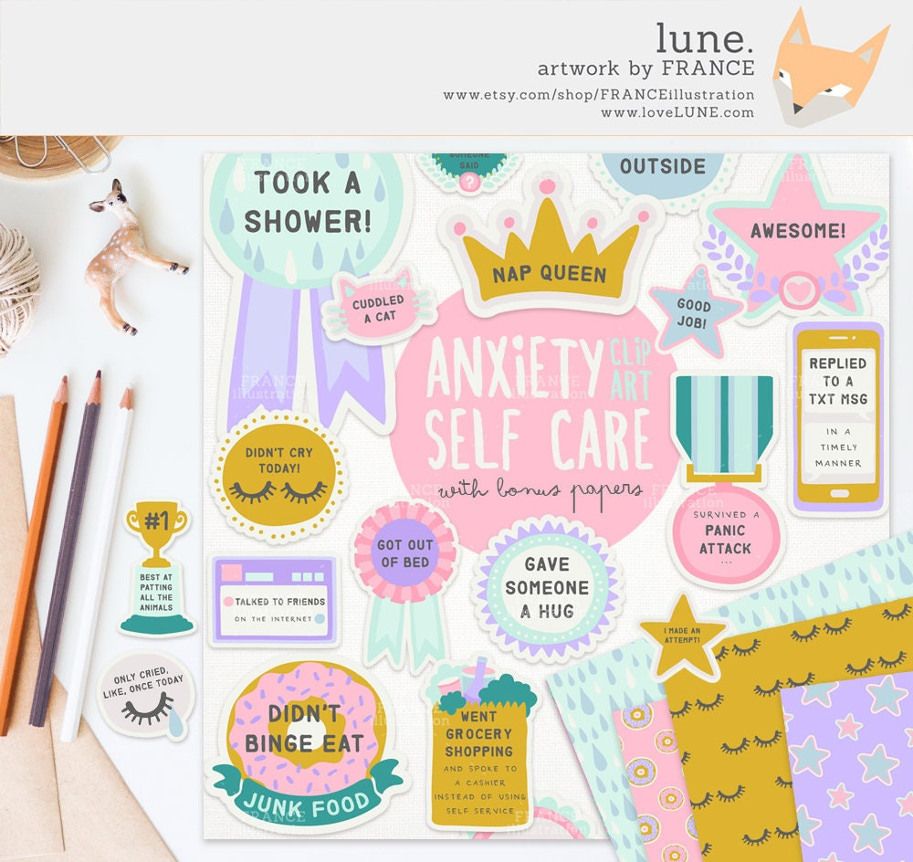 3 FOR 2. Anxiety / Depression Self Care Award Digital Clipart   Etsy