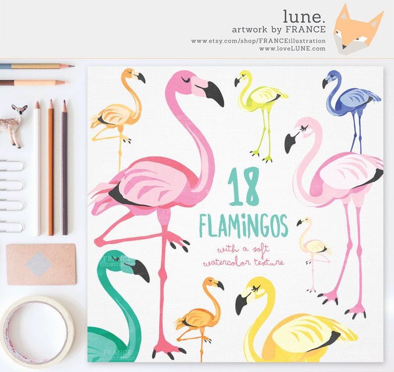 3 FOR 2. Flamingo Clipart: Watercolor Clipart. Cute Kitsch image 0