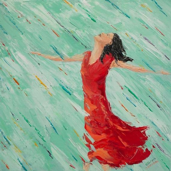 Original Painting Woman In Rainbow Rain 16 X