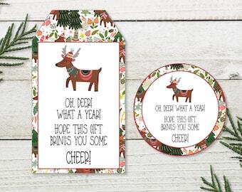 Printable digital download Christmas gift  tags deer stag wreath gift cards