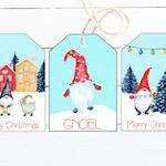 Christmas Gnome Gift Tags - Printable Christmas Gift Tags - Printable Holiday Gift Tags - Funny Christmas Gift Tags - Set of 3