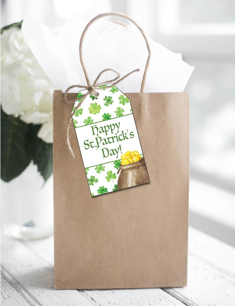 Printable St. Patrick's Day Tag Shamrocks and Pot of image 0