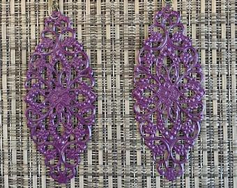 Grape Hand Painted Filigree Earrings
