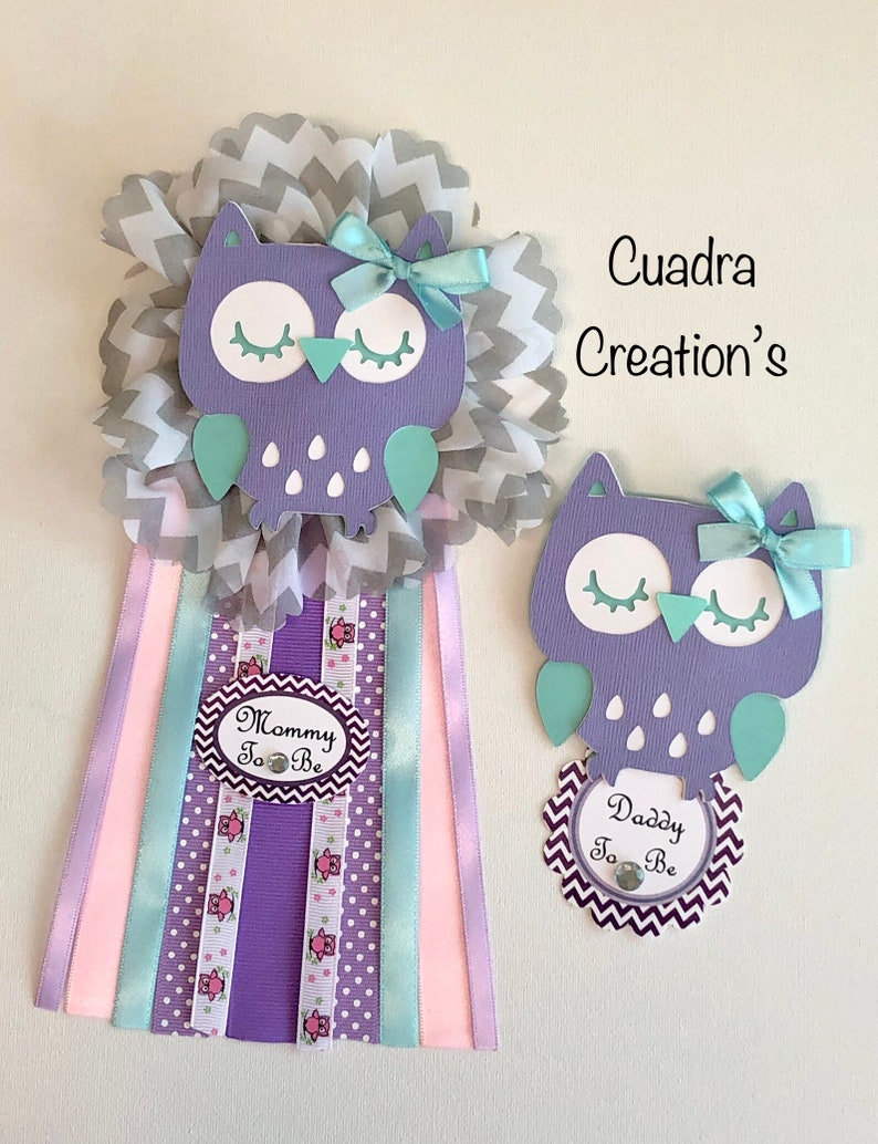 Owl baby shower corsage// Mon to be corsage// Owl theme// Baby shower corsage