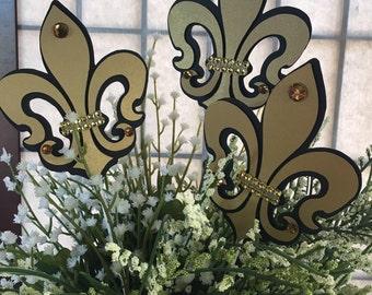 Fleur de Lis centerpieces, Black and Gold , Royal Fleur de lis, Paris Fleur de Lis, Fleur de lis black and Gold