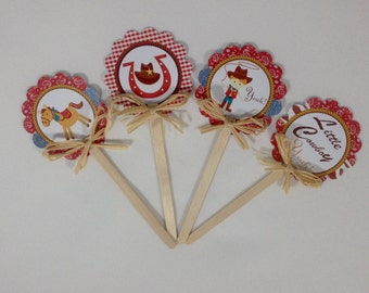 Cowboy Cupcake toppers/ Western theme/ red cowboy cupcake toppers/Little cowboy
