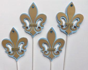 Fleur de lis/Paris Fleur de Lis/  Royal Fleur de lis/ Paris Fleur de lis/ light blue and Gold felur de lis