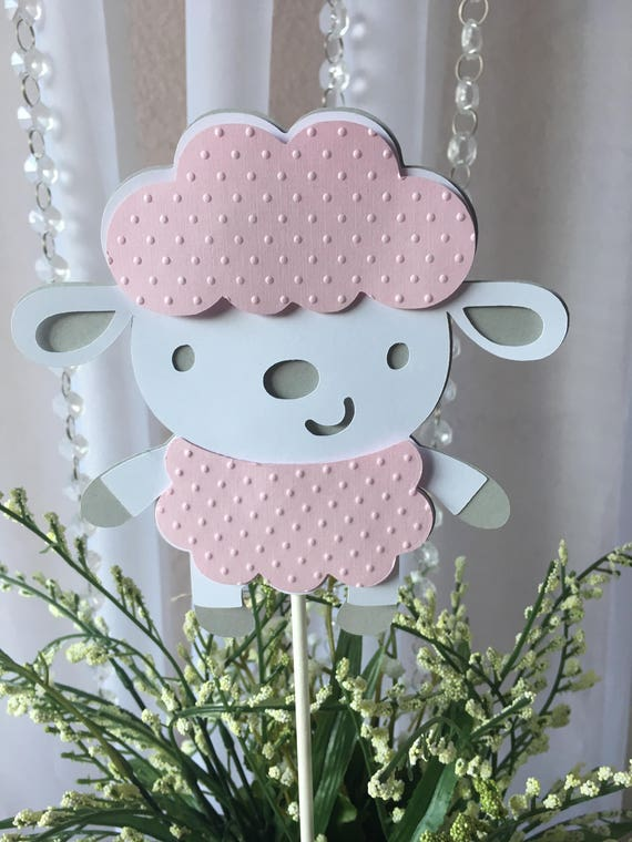Lamb Centerpieces Stick Lamb Shapes Sheep Baby Shower Light Pink Sheep Little Lamb Baby Shower Light Pink And Gray