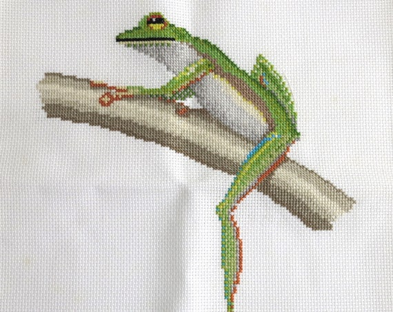 Embroidery of green frog sitting on a tree, continental and cross stitch, hand embroidered, for framing and other craft, 10 x 12.5 inches