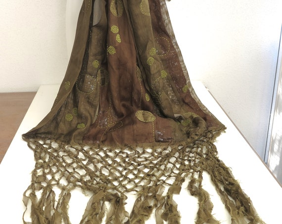 Jamin Puech wrap / stole / throw in olive green & coffee colors, long fringe, appliques, stitching, pleating, hidden sequins, 250cm long