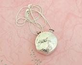 Sterling silver engraved perfume bottle pendant on sterling silver snake chain, 18 grams