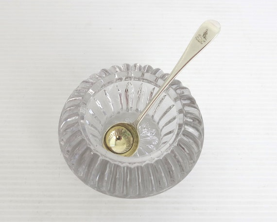 Antique pressed glass salt cellar and sterling silver gilded spoon, London, England, 1889, 15.5 grams of sterling silver