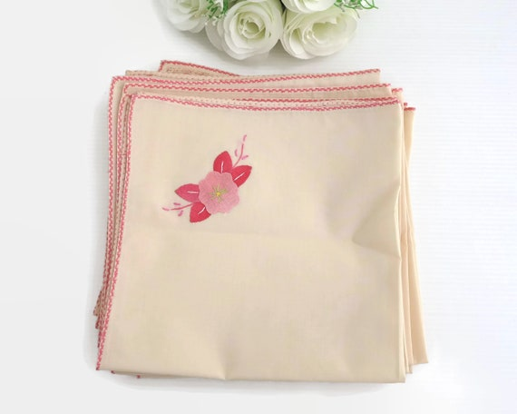 6 vintage apricot colored napkins with pink appliqued flowers and pink embroidered edging, 16 inches / 41 cm square