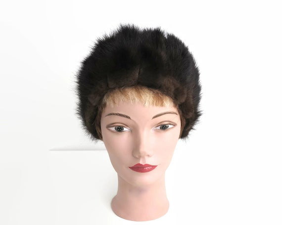 Vintage mink fur hat, black-brown color, soft brown fur around the edge, fully lined, up to 22.5 inches / 57cm