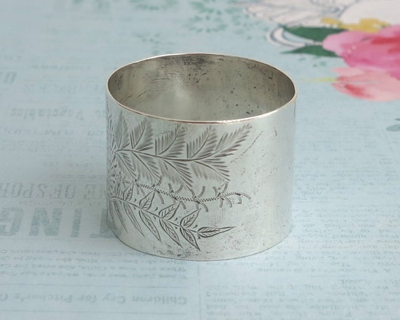 Antique sterling silver napkin ring, engraved foliate pattern, monogrammed, British sterling, Chester, 1908, 27 grams, Edwardian