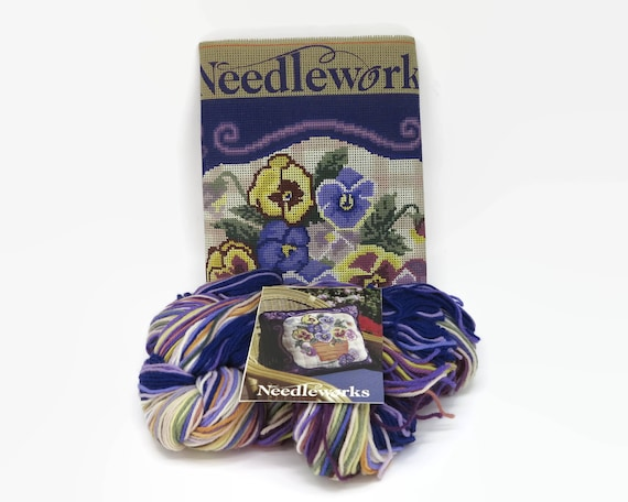 Needlepoint kit for square cushion, purple pansies, 40cms / 15.5 inches square, dead stock, printed canvas, wool, instructions, circa 1970s