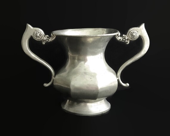 Large vintage double handled pewter vase, French, stamped 95% Etain, 8 inches / 20cm tall