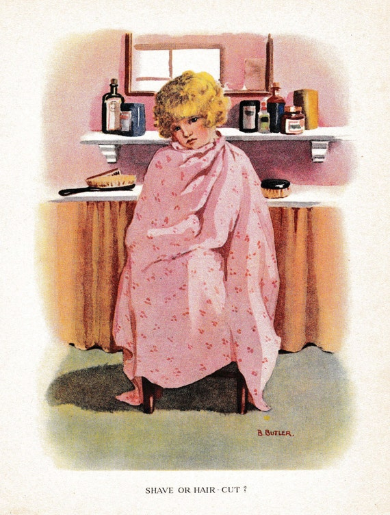 Antique children's book illustration of young girl having hair cut in barber shop, matted for framing, 8 x 10 inches, published 1920s