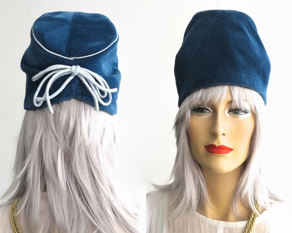 Vintage hat, blue ribbed corduroy tall hat with pleated back, slouchy sides, pale blue piping, ribbon trim, Marie Warnes, small size, 1960s