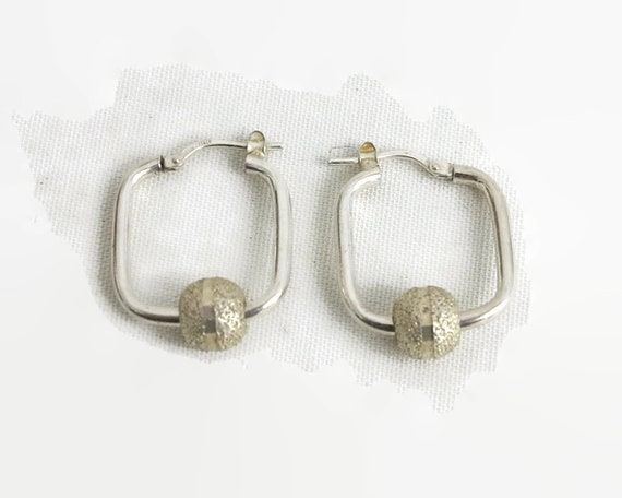 Sterling silver hoop earrings with sparkly pale gold moveable balls, square hoops, made in Italy, 4.4 grams