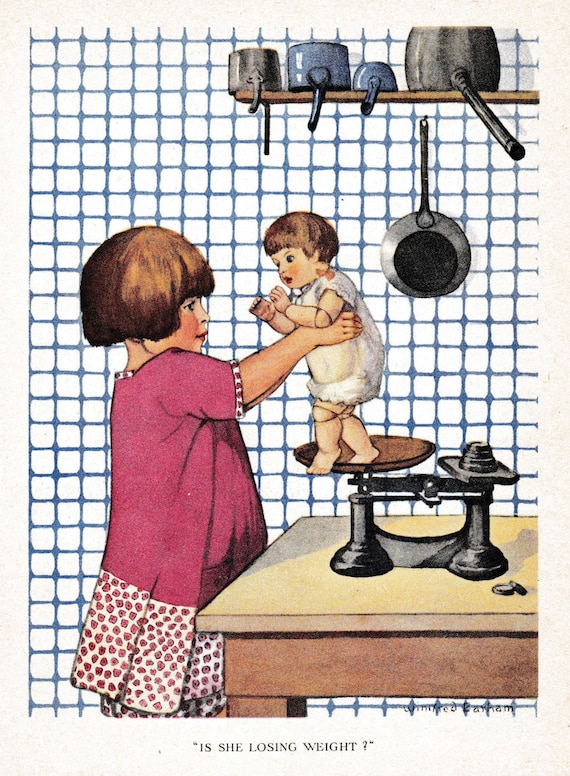 Antique children's book illustration of little girl weighing her doll on old fashioned scales, Winifred Barham, matted for framing, 8x10 ins
