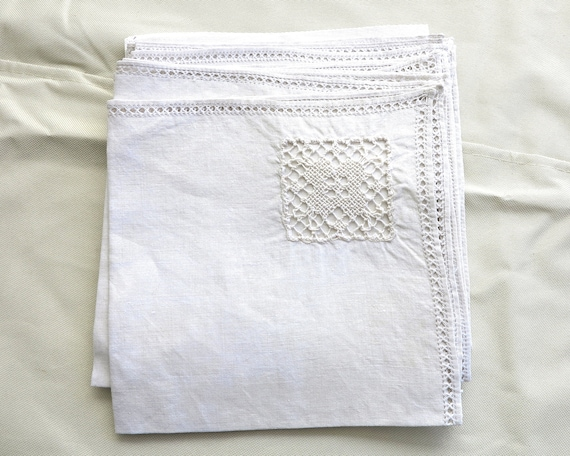 8 large vintage bone linen napkins with crochet lace panel insert and faggoted edges, handmade