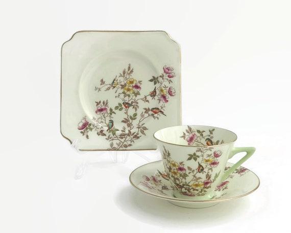 Vintage Royal Doulton trio, Sweet Briar pattern, roses and birds, pattern number V2040, 1938 - 1973