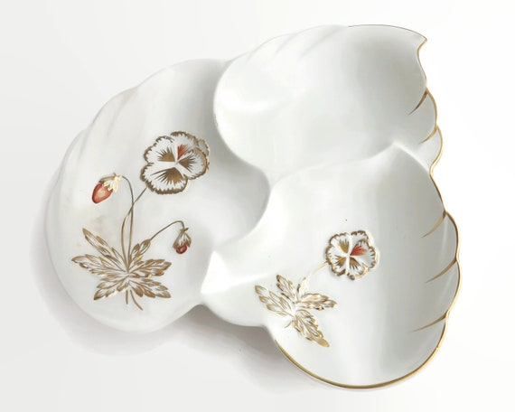 Vintage Royal Winton Grimwades segmented serving dish in the shape of a leaf, white with gilt and orange pansies, 1940s