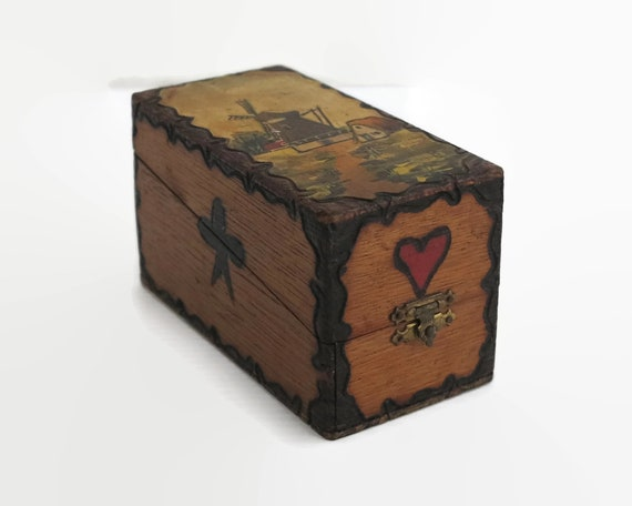 Antique playing cards box, painted wood with poker work, Dutch scene, handmade, circa 1920s / 30s