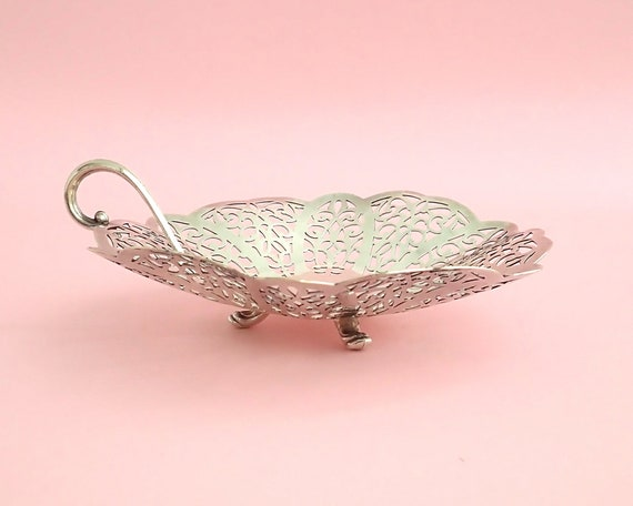 Silver plated footed candy dish with handle, International Silver Company, Lovelace pattern, mid century