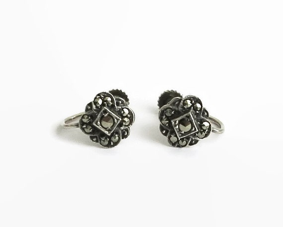 Tiny vintage sterling silver and marcasite earrings in the shape of a flower, screw backs, circa 1950s