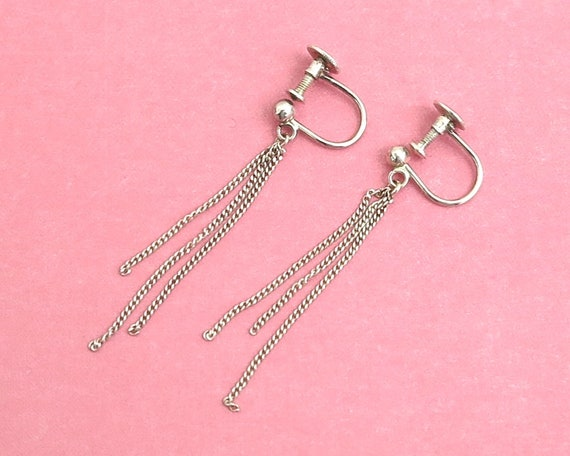 Sterling silver screw back earrings with 3 fine link dangles from top ball, stamped Silver, circa 1950s