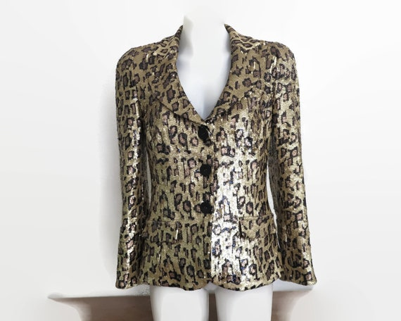 Sequinned jacket in leopard skin pattern, all over sequins, fully lined, Harry Who, Australia, 1990s, small, brand new without tags