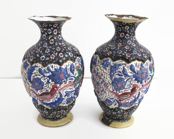 Pair of antique Persian vases, enamel over copper, decorative repousse pattern of birds and flowers, circa 1910, 6.75 inches / 17 cm tall