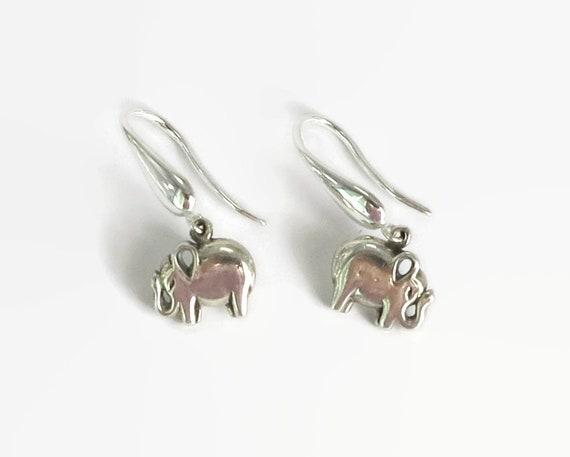 Sterling silver elephant earrings on sterling silver hooks, 5 grams