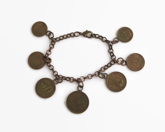 Vintage coin bracelet with 7 old Brazilian coins from mid 20th century, copper cable link chain with copper coins