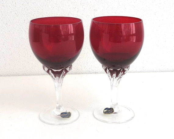 2 boxed Bohemia crystal wine glasses, Ruby Collection, red and clear crystal, Czech Republic, 180ml goblet