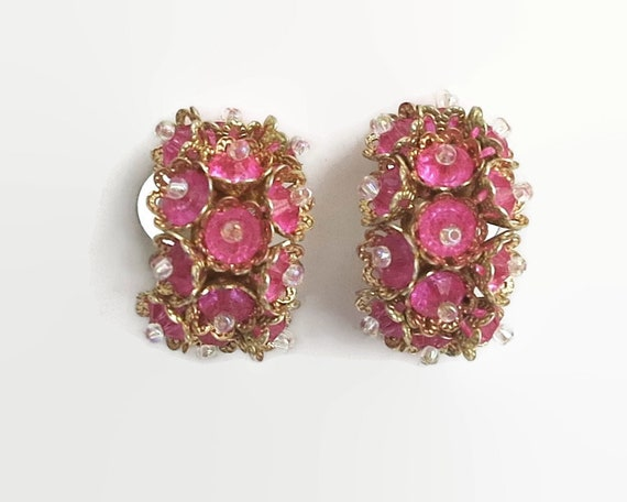 Vintage  pink flower clip on earrings, glass beads, cuff earrings, gold metal setting, mid 20th century