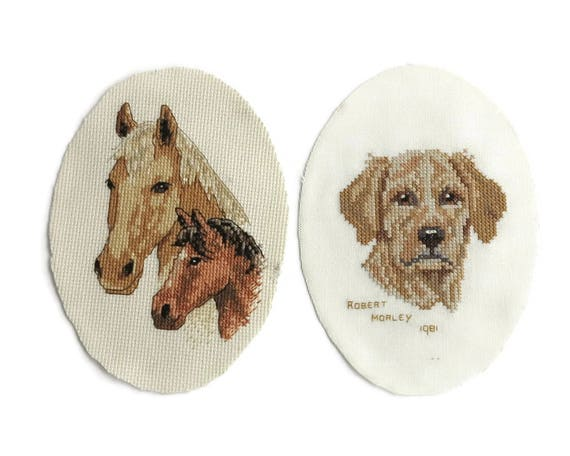 2 small embroideries of animals, 2 horses and a dog, continental and cross stitch, hand embroidered, for craft purposes, oval shapes