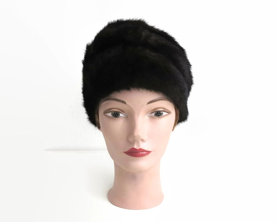 Vintage mink fur Cossack style hat, black-brown color, fully lined, up to 22 inches / 56cm
